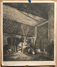 A.de Bartsch 1813 etching Old Master Ostade Barn scene 12x10in plate engraving