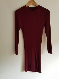 Atmosphere Size 14 long sleeve ribbed bodycon jumper dress - Burgundy
