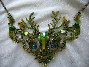 Large Bronze Deer Stag  Necklace Fantasy Gothic Steampunk Green OOAK Tree Celtic