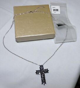 """18"""" JTV 4.85ctw Blue Sapphire Sterling Silver Cross Pendant Necklace NEW MQH156"""