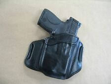 Walther PPS With LASER OWB Leather 2 Slot Molded Pancake Belt Holster BLACK RH