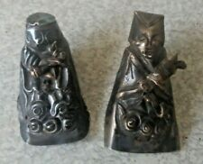 More details for pair antique vintage probably  silver chinese ornate hat garment decoration