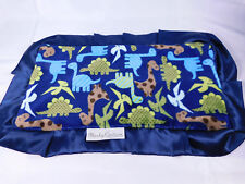 Minky Couture Dinosaurs Blue Lovey Security Blanket Blue Satin Ruffle Green Back