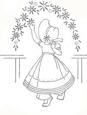 Vintage Embroidery Transfer repo 970 Four Sunbonnet Girls with Petticoats