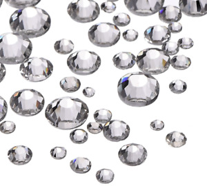 1000 Flat Back Crystals Clear AB Rhinestones 3-6mm NON HOTFIX Gems Beads Resins