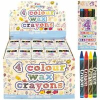 1-50 Packs 4 Mini Colouring Wax Crayons Kids Party Bags Fillers Toys Lucky Dip