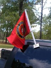 "US MARINE CORP  AUTO CAR WINDOW FLAG 11"" X 14"" SET OF TWO NEW"