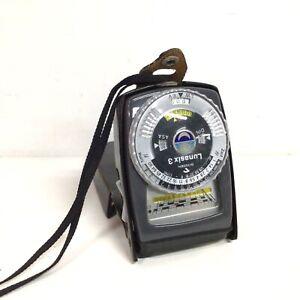 Vintage Gossen Lunasix 3 Light Metre Black Leather Case Made in Germany #908