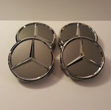 4x Mercedes Radnabendeckel Nabenabdeckung Nabenkappen 75mm TItan Grau