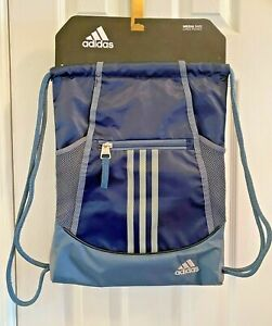 ADIDAS Alliance II SACKPACK Blue/Grey MEDIA POCKET Drawstring NEW ~ FREE SHIP!