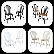 New ListingFarmhouse Dining Chairs Country Kitchen Solid Wood Round Back Seating (Set of 2)