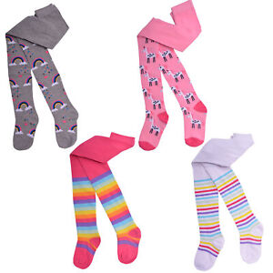 Girls 2 Pack Tights Kids Unicorn Design Rainbow Stripes Cotton Size 1.5-10 Years