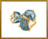 14K Solid Yellow Gold London Blue Topaz Fashion Ring