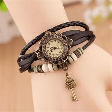 Reloj Pulsera Reino Unido Ladies Aspecto de Cuero Multicapa llave de encanto Vintage Negro 8020
