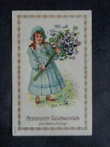 KINDER - Mädchen mit Hut Geburtstag Blumen Klee geprägt ! - 1910