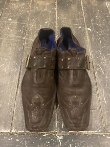 MARK NASON 'Rock Never Dies' Men's Buckle Loafers Shoe Sz 11 Made In Italy Suede