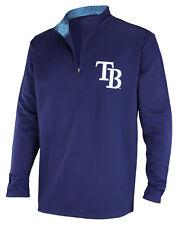 Zubaz MLB Baseball Men's Tampa Bay Rays Static Collar 1/4 Zip Fleece Pullover