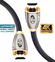 2M-Premium Braided HDMI Cable v2.0 Gold High Speed HDTV UltraHd 2160p 4K@60Hz 3D