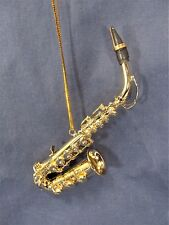 Gold Saxophone Ornament Musical Instrument Collectible Holiday Home Decor