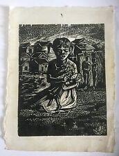 Angel Guzman, Signed Original Poor Girl Woodcut 1982, Caribbean, Puerto Rico Art