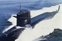 US Navy Attack Submarine at Sea Photo Art Print Poster 24x36 inch