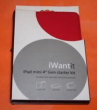 iWantit Starter Kit (Case,StylusPen,ScreenProtector) for iPad Mini 1/2 /3 /4 Red