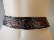 Vintage Jack Daniels Old No 7 Black Rough Leather Belt Metal Buckle Rockabilly M