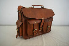 "Vintage Leather Backpack Convertible Messenger Bag 13"" MacBook Satchel Briefcase"