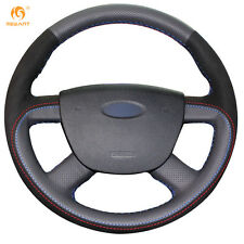Black Genuine Leather Suede Steering Wheel Cover for Ford Focus 2 2005-2011