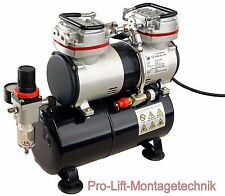 2 Zyl. Airbrush Kolben- Kompressor AS-196 Druckminderer 3,5Liter Lufttank 01764