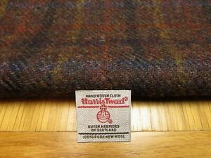 Harris Tweed Dark Brown Multicheck Remnants with Label - Choice of Sizes