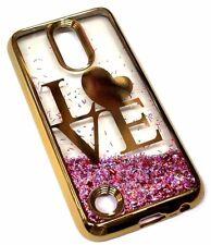 For LG V5 / K20 PLUS Gold Trim Love Heart Pink Glitter Sparkle Liquid Skin Case