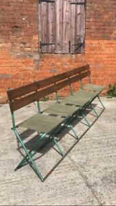 Vintage foldable military canvas bench