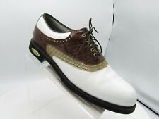 FootJoy Classics Tour 51858 Size 10.5 B White Brown Leather Golf Mens Shoes