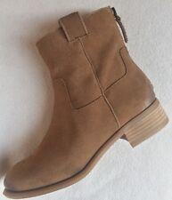 New Nine West Jareth Tan Brown Suede Ankle Short Boots Zipper sz 5.5M