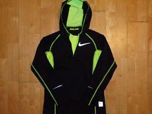 NIKE PRO Women DRI-FIT 1/4 Zip Black Neon FITTED Medium M Hoodie Fitness Jacket