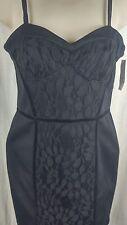 NWT Jessica Simpson 5/6 Black Velvet Piping Lace Overlay Corset Dress HOT! (KK1)