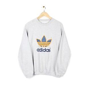 Adidas Vintage 90s Big Logo 3D Spell Out Crew Neck Grey Sweatshirt - Size L
