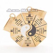 Split Stainless Steel Pendants Chain Necklaces Gold Ying Yan Tai-Ji Fung Shui