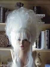 SIN CITY WIGS 1 OF A KIND UP DO PLATINUM BLONDE BIG HAIR TEASED TENDRILS BANGS