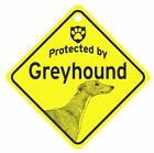Protected by Greyhound  Dog Car Window Sign