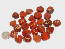 Red Jasper Engraved Rune Stone Set, with Symbols Chart and Cloth Bag (eb748)