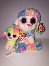 TY RAINBOW POODLE SET OF 2 (BEANIE & KEY CLIP) BEANIE BOOS-NEW,MINT TAG*IN HAND
