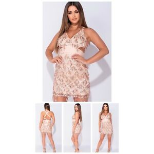 Dangling sequin body on dress. Nude. Sizes 8-12.  True to size. New with tag.