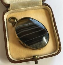 Antique Victorian Extra Large Heavy Banded Agate Opening Photo Locket Pendant