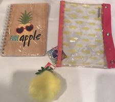 Pineapple Stationery Notebook Set With Pom Pom Keychain And Pencil Case