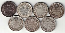 7 X CANADA TEN CENTS DIMES KING GEORGE V STERLING SILVER COINS 1913 - 1919