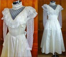 Vtg 70s GUNNE SAX Pearl Satin Lace Prairie Wedding Boho Garden Party Midi DRESS