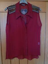 Ly dark red wine sheer sleeveless blouse beaded emb studded shoulders 12 bnwt