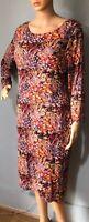 Laura Ashley Womens Midi Dress With Stretch Floral U.K. 14 Orange Mix Gt Cond